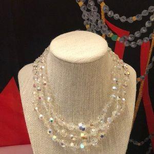 Vintage aurora borealis triple strand necklace